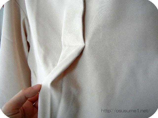 胸元の縫製