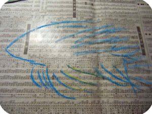 プラスチック板に熱帯魚を書く