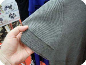 ネックレス付きタートルニットグレー袖