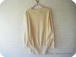 綿100%Vネックセーターの後ろ姿