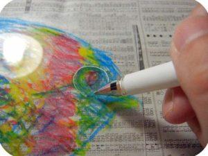 白ペンでなぞる。