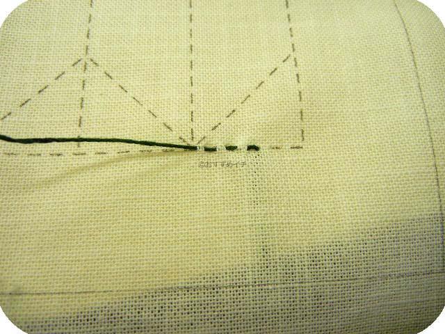 3目手前から縫い始める。